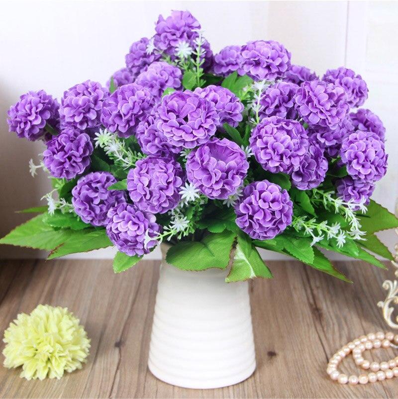 1 Букет 8 больших цветочных головок Искусственный Гортензия Хризантема шар искусственный цветок из шелка Сделай Сам домашний сад свадебные ...