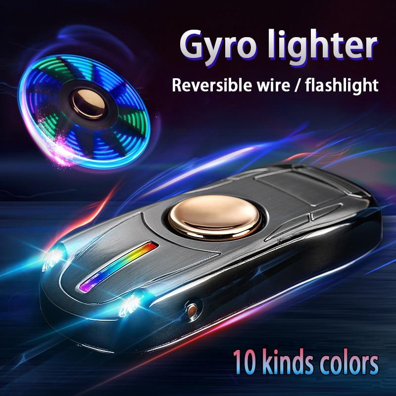 Fingertip Gyro Glow In Dark Light USB Charging Lighters Fidget Hand Spinner Top Spinners Stress Cigarette Accessorie Men Gift E