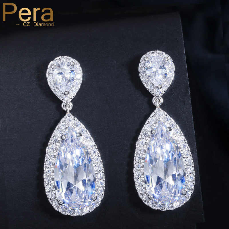 Pera Classic Big Water Drop AAA+ Cubic Zirconia Silver Color Luxury Wedding Bridal Long Dangle Earrings Jewelry For Brides E016