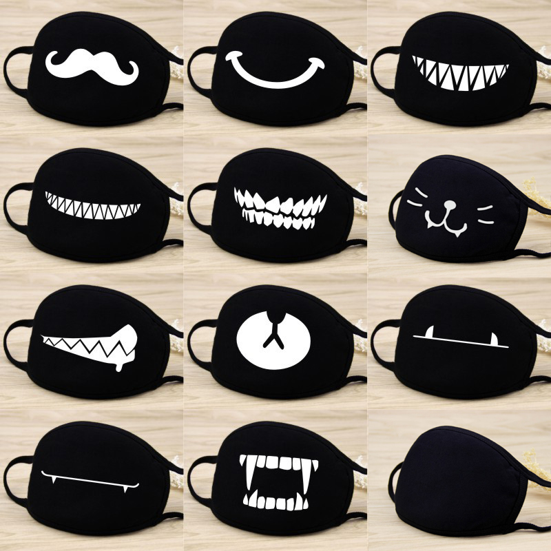 6Pcs Cute Cartoon Face Mask Funny Teeth Pattern Anti-bacterial Dust Mouth Mask Emotiction Masque Kpop Masks For Child & Adult