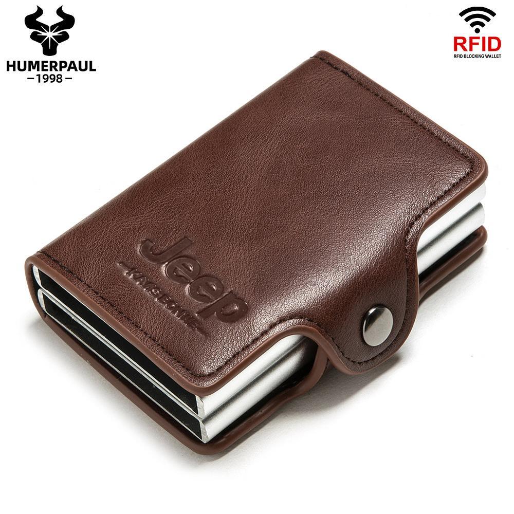 2020 анти-Блокировка кредитной держатель для карт мужская визитница чехол металлический RFID двойные алюминиевые Бизнес минималистичный доро...