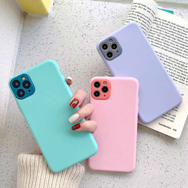 Lovebay Camera Protection Candy Color For iPhone 11 Case For iPhone 11 Pro X XR XS Max 8 7 Plus Solid Soft TPU Phone Cases Cover
