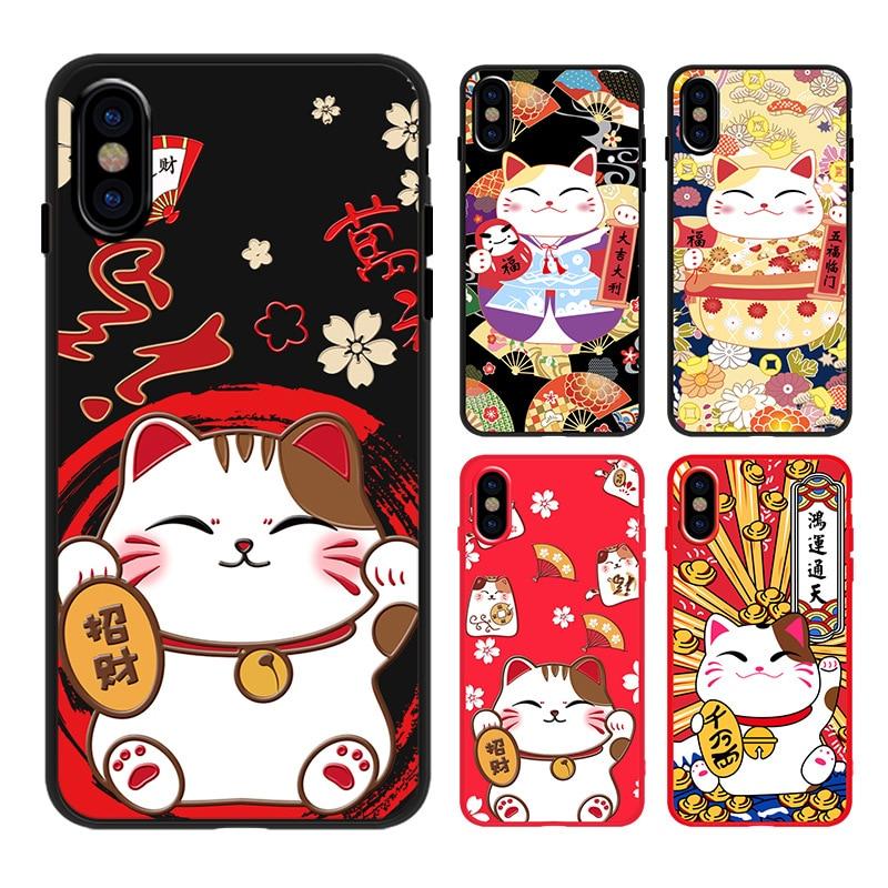 Coque de téléphone japonais mignon chat chanceux kawaii pour iPhone 7 8 6 6S Plus X XS 11 Pro Max XR étui en silicone mignon chat noir