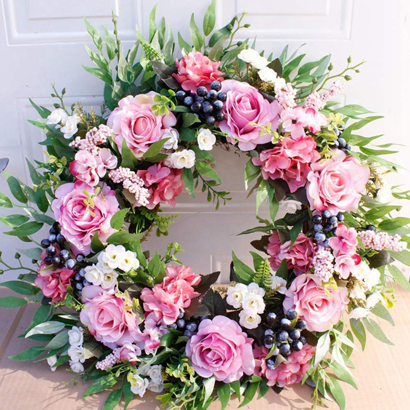 Wedding Floral Front Decorative Wreath Rustic O Wreath For Door Large Wreath Flower Rose Farmhouse Artificial Faux Window 55cm
