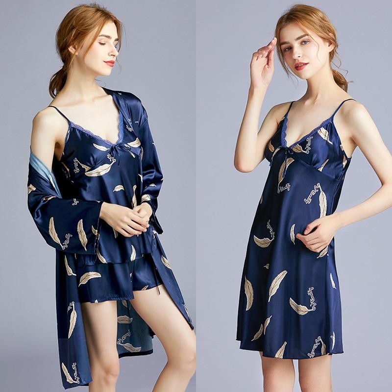 Lady Print 4PCS Robe Set Sexy Nightgown Kimono Bathrobe Gown Satin Summer New Sleepwear Nightwear Home Clothes Silky Homewear