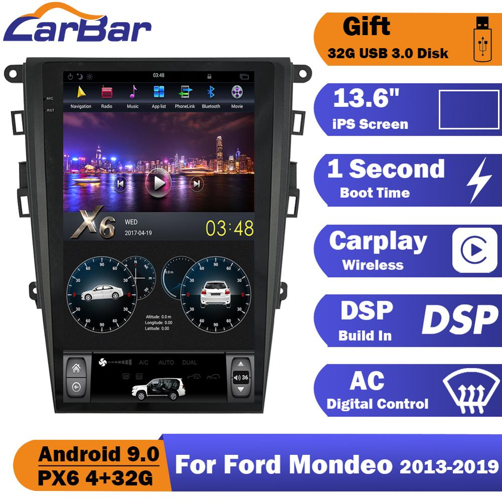 Tesla Style Vertical Screen <font><b>Android</b></font> 9.0 <font><b>Car</b></font> DVD GPS Radio Navigation Stereo <font><b>Audio</b></font> Player For Ford Mondeo Fusion MK5 2013-2019 image