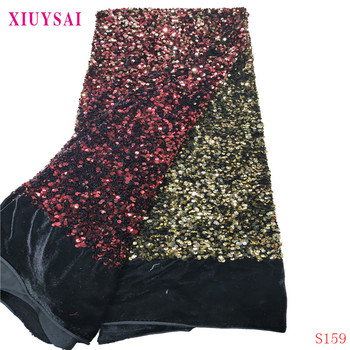 XIUYSAI Gradient Color Blue-Silver Sequin Fabric Stretch Spandex Embroidered Mesh African Lace Sequin Fabric for Dress