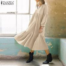 Solide bouffée à manches longues Robe décontracté printemps col en V Vestido femmes coton lin robes dame ZANZEA Chic à volants Robe Midi surdimensionné