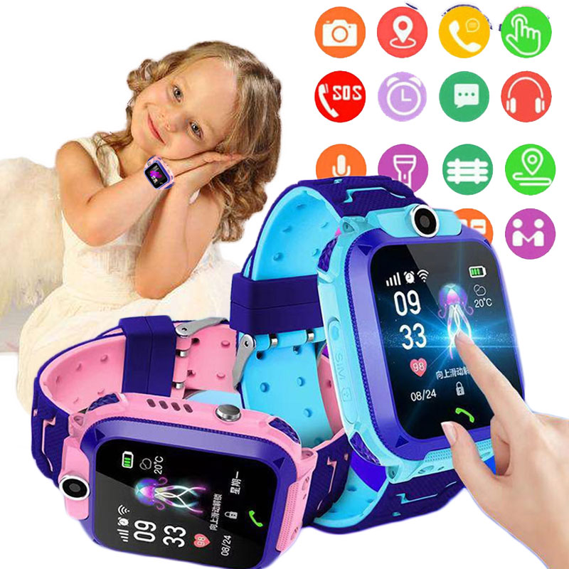 2020 Q12 Children s Smart Watch Kids SOS Phone Watches Smartwatch use Sim Card Photo Waterproof IP67 Kids Watch Gift boys girls