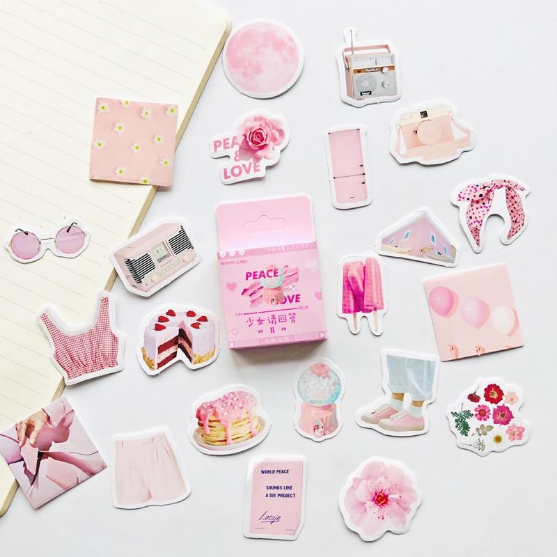 46 Pcs /Box Pink Priness Girl's Accessories DIY Decorative Stickers Stick Label