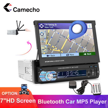 Camecho Car Radio 1din Car GPS Navigation MP5 Display Bluetooth 7 Screen Car Stereo Retractable FM/USB/SD Car Radio Autoradio image