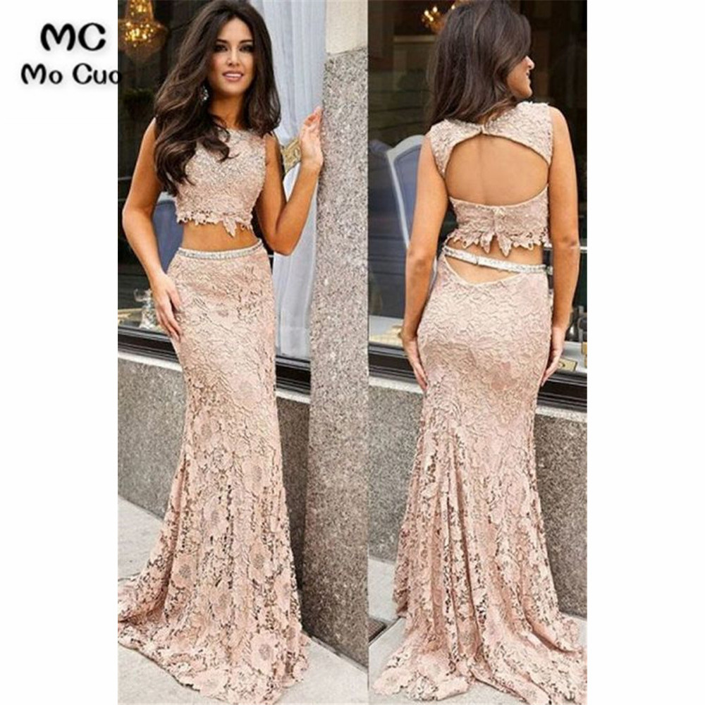 Two Pieces Gown Mermaid   Prom     dresses   Evening Gown Lace Satin Vestido de festa Backless   prom     dresses   Custom Made