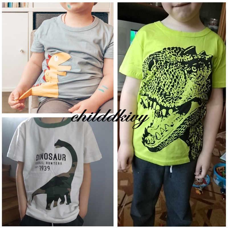 Jongens & Meisjes Cartoon T-shirts Kinderen Dinosaurus Print T-shirt Voor Jongens Kinderen Zomer Korte Mouw T-shirt Katoenen Tops Kleding