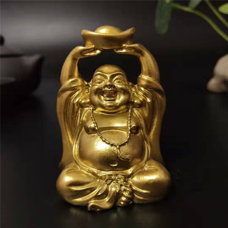 Gold Laughing Buddha Statue Chinese FengShui Money Maitreya Buddha Sculpture Figurines Home Garden Decoration Statues Lucky Gift