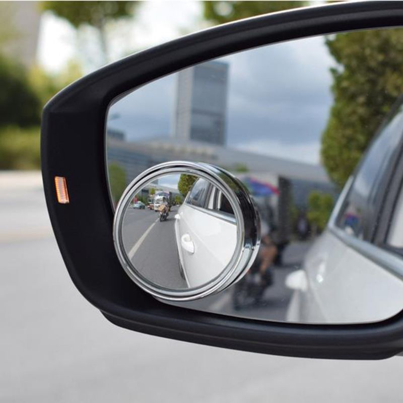 HD 2x Mirror Motorcycle Blind Spot Convex for Parking Round Rain Shade Car