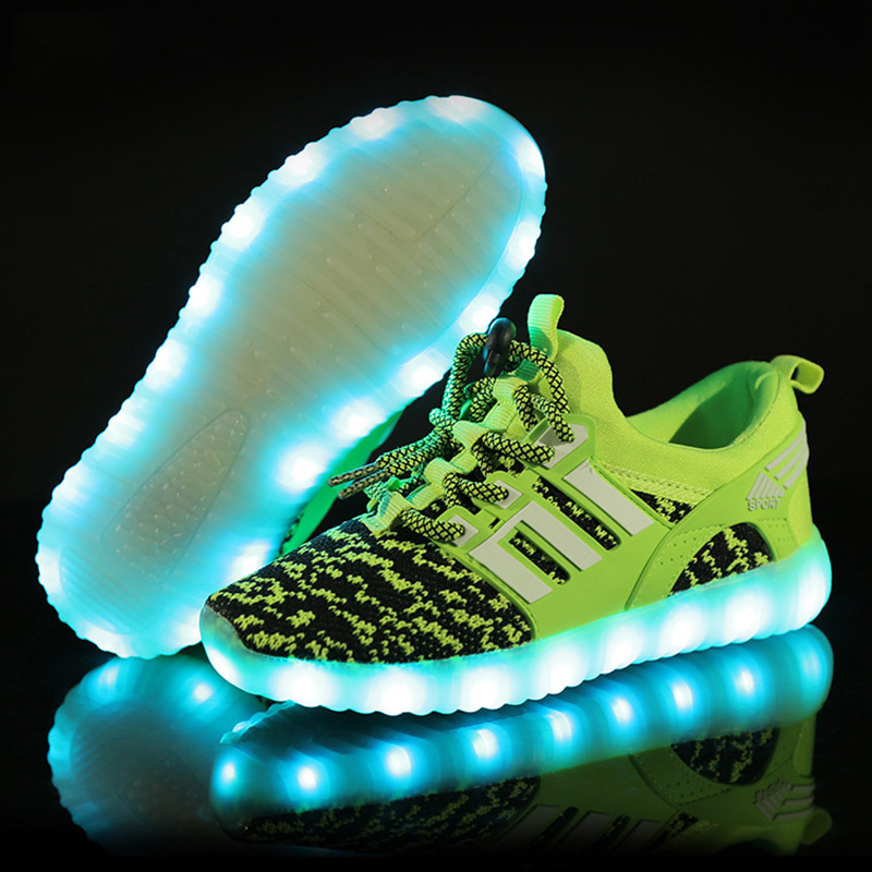 Size 25-37 Children Luminous LED Shoes USB Charged Glowing Kids Shoes With Light Up Sole Led Lighted Sneakers For Boys & Girls