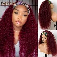 Красный бордовый 99J парик с головной повязкой человеческие волосы для всей машины, сделанные кудрявые вьющиеся парики из натуральных волос ...