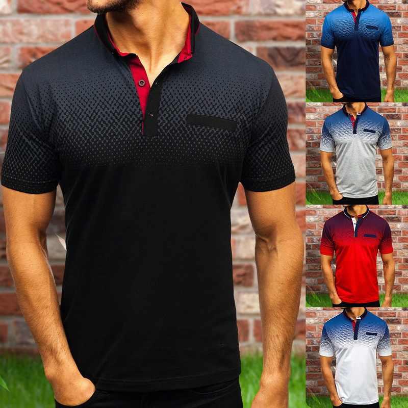 Shujin 2019 Polo Pria Kemeja Lengan Pendek Katun Kasual Polo Shirt Pria Musim Panas 3D Cetak Lengan Pendek T-shirt