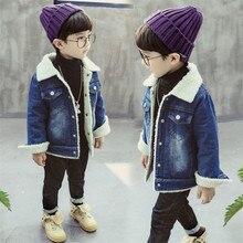 Korean Classic Style Kids Cashmere Coat For Boys Autumn Winter Wool Toddler Fur Denim Baby Warm Jacket