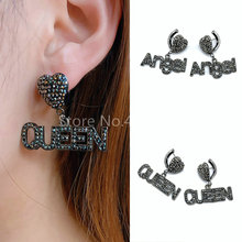 5pairs,Women Earrings,Fashion Jewelry,Crystal Setting,Letter