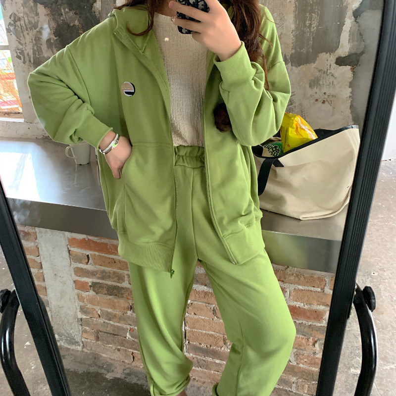 2019 New Style Hong Kong Style WOMEN'S Suit Retro CHIC Avocado Green Matcha Green Sporty INS Early Autumn Two-Piece Set