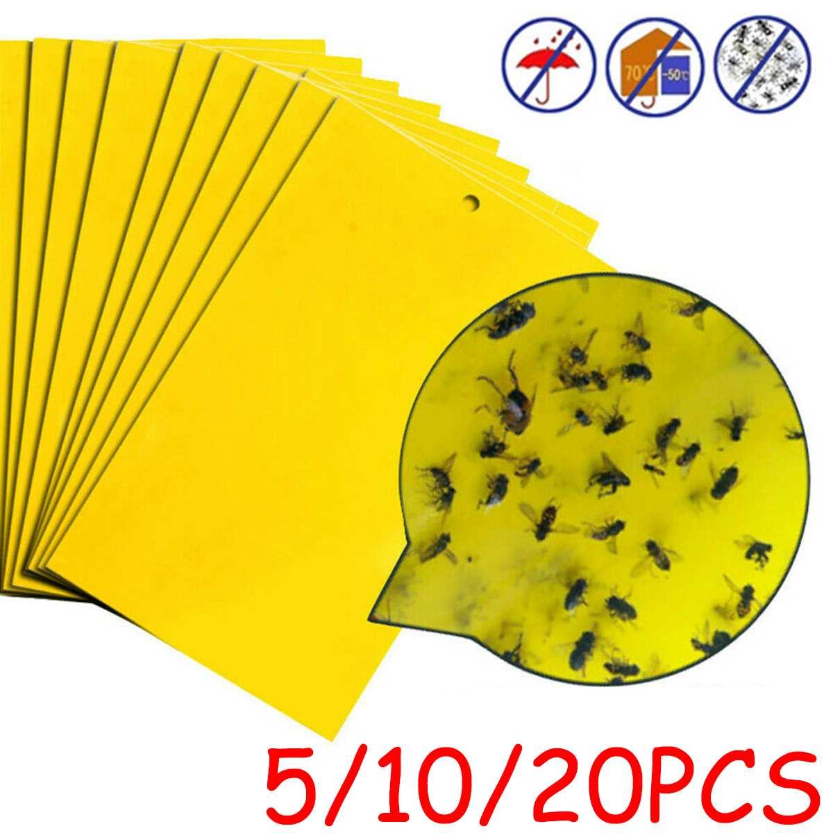 (5/10/20Pcs) 15X20cm Large Area Hanging Sticky Glue Boards For Fly Pest Insect Trap Catchers Bug Stickers