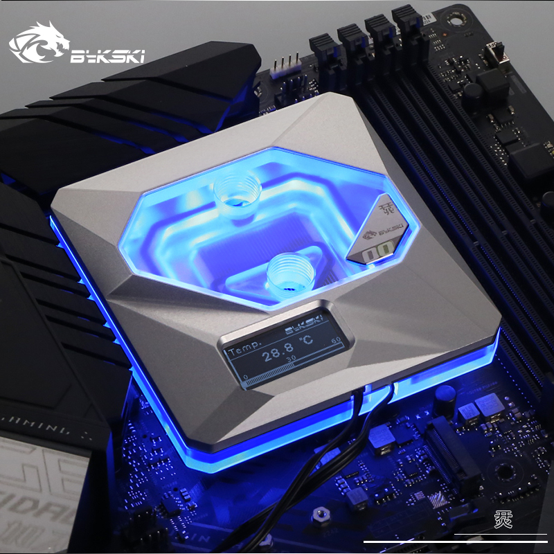 Image 2 - Bykski CPU Water Block use for INTEL LGA1150/1151/1155/1156 A RGB AURA Light / Temperature Display OLED / 10th Anniversary BlockFans & Cooling   -