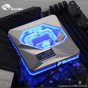 Image 2 - 인텔 lga1150/1151/1155/1156 용 bykski cpu 워터 블럭 사용 A RGB 오라 라이트/온도 디스플레이 oled/10 주년 기념 블록