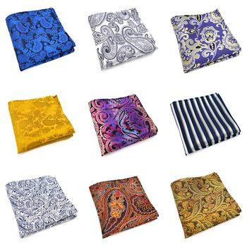 33 Renk Moda Erkek Polyester Ipek Cep Kareler 25CM Paisley Tasarım Adam Mendil Damat Düğün Parti Göğüs Havlu Hankies