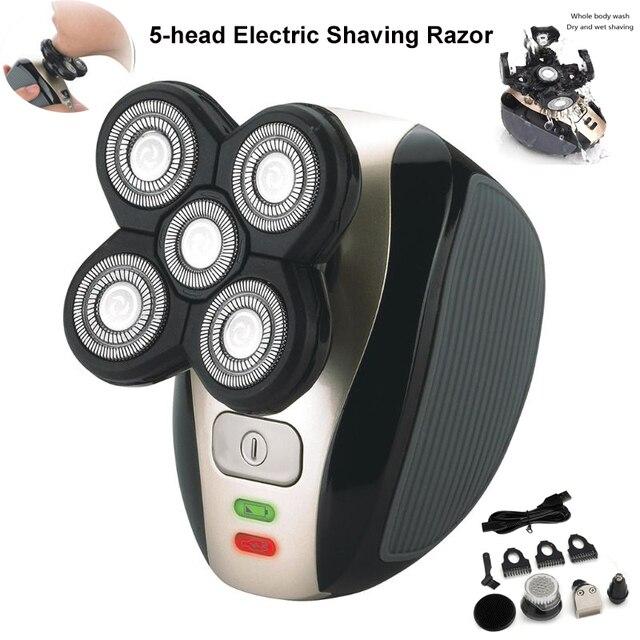 חדש 5 ראש נטענת חשמלי מכונת גילוח חמישה צף ראשי סכיני גילוח שיער קליפר האף אוזן שיער גוזם גברים פנים ניקוי מברשת