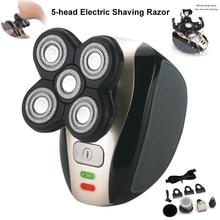 Yeni 5 kafa şarj edilebilir elektrikli tıraş makinesi beş yüzen kafa jilet saç kesme burun kulak saç giyotin erkekler yüz temizleme fırça