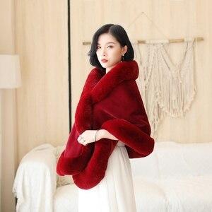 Image 5 - Czarny/wino czerwone formalne Party wieczór kurtka Wrap Faux futra ślubne peleryny 2020 nowe zimowe kobiety Bolero okłady zimowe szale w magazynie