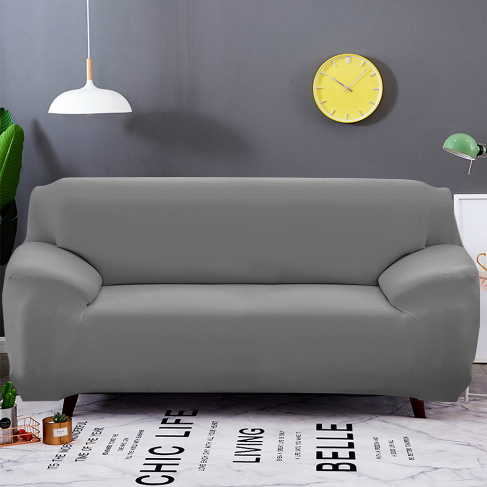 Solid Color Elastic Sofa Cover Spandex Modern Polyester Corner Sofa Couch Slipcover Chair Protector Living Room 1/2/3/4 Seat image