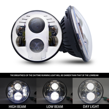 цена на For Lada Niva 4x4 7'' Led Headlight H4 High Low Beam Round Cars Running Lights Headlamp for Jeep Wrangler JK Land Rover Defend