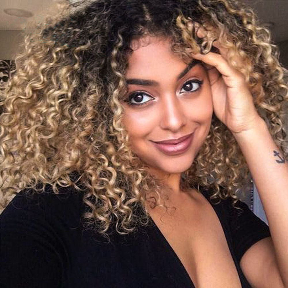 1B/27 Ombre Color Short Curly Lace Front Human Hair Wigs With Baby Hair Pre Plucked Remy Brazilian Lace  Bleached Knots