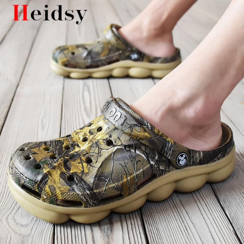 Sandals Mens Shoes New Summer Clogs Mens Beach Sandals Outdoor Zuecos Men Camouflage Black Slippers Sandalias Hombre Size 39-45