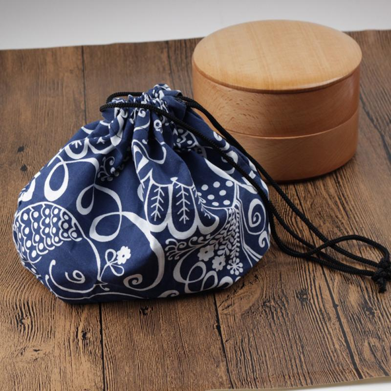 Cooler Japanese Style Printed Office Food Storage School Thermal Insulated Bento Pouch Drawstring Cloth Portable Lunch Bag