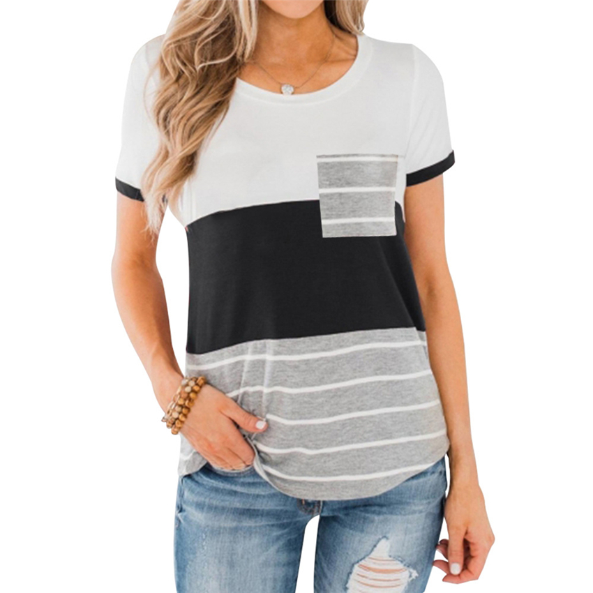 Pocket T-shirt Women Striped Tops Tee Summer Short Sleeve Tee Shirts 2020 New Patchwork Slim Fit Top Women O-neck T Shirts Femal