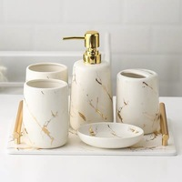 5pcs Fashion Marble Bathroom Set Household Wash brush cup, Liquid Soap Dispensers, Soap Dishes