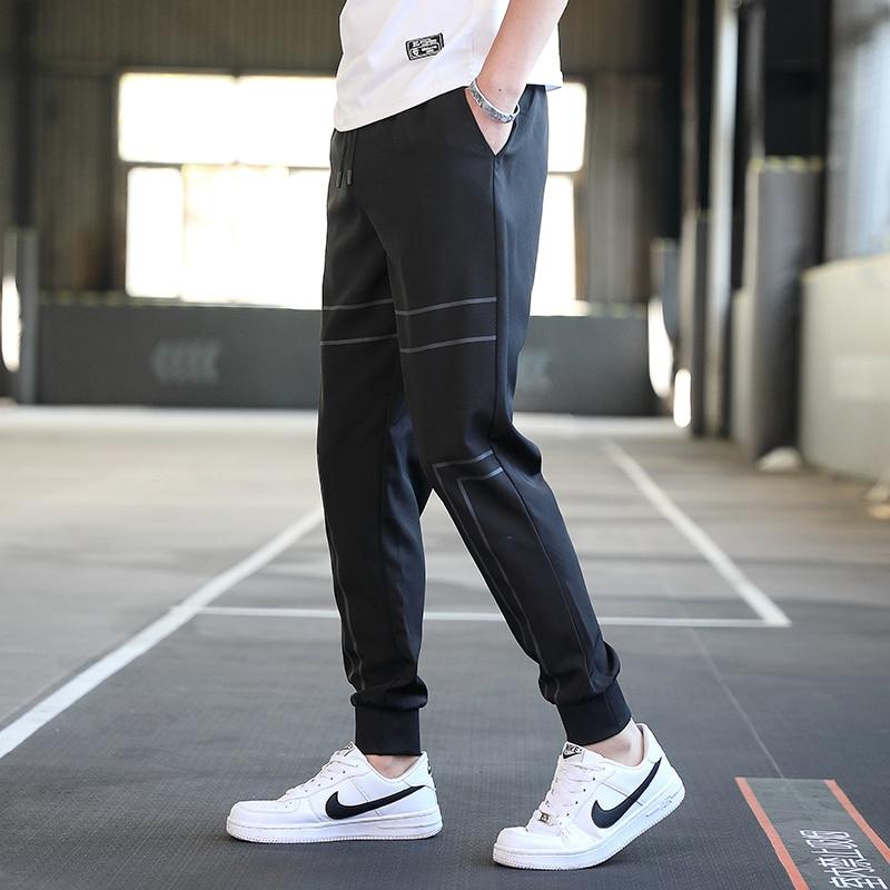Summer Thin Men's Trousers Causal Side Pocket Pants For Men Streetwear Cropped Trousers Korean Male Sports Pencil Pants Wild 4XL