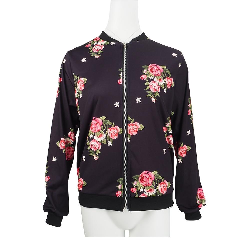 Print Bomber Jacket Women Flowers Zipper Up Retro Coat Spring Summer Long Sleeve Basic Plus Size Short Biker 49