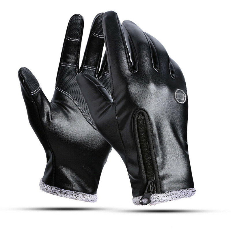 Winter Zipper Pu Black Gloves Outside Mittens