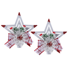 2 pcs Christmas Tree Topper Sparkle Star Plastic Shiny Ornament Ornaments Xmas New Year Gift for Home