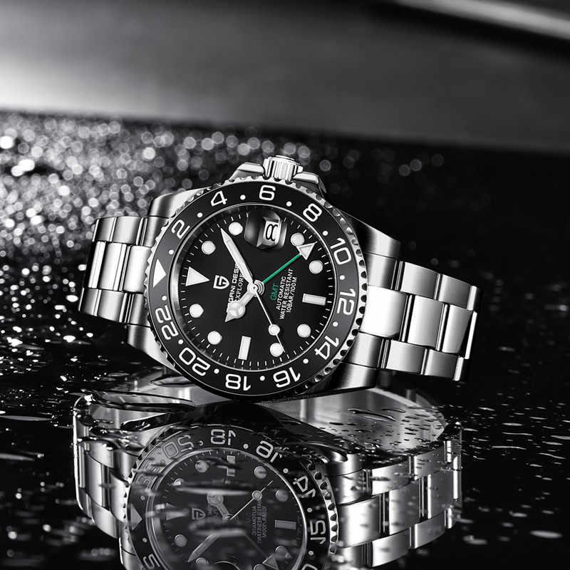パガーニデザインのメンズステンレススチールウォッチサファイアクリスタルセラミックベゼル gmt 自動メンズ腕時計高級機械式腕時計