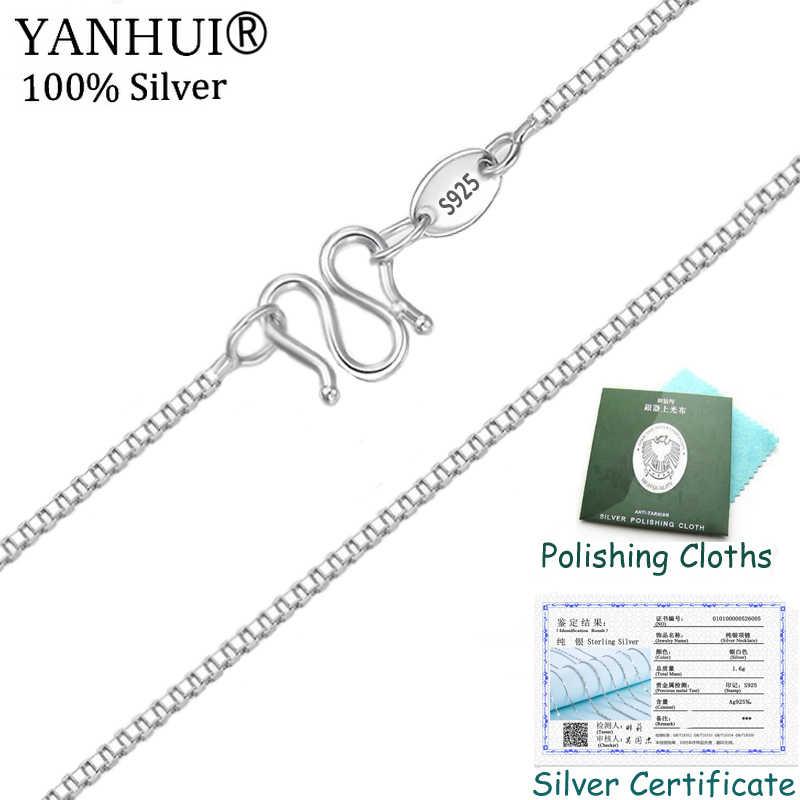 Wielka promocja klasyczne podstawowe Box łańcuch z certyfikatem 100% oryginalny 925 Sterling srebrny M zapięcie naszyjnik kobiety Fine Jewelry