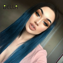 Bella cabelo liso peruca verde azul peruca dianteira do laço 20