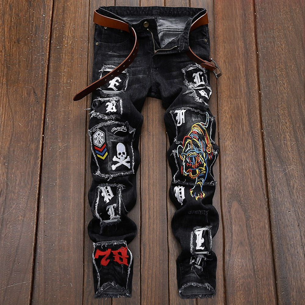 Men's Fashion Brand Loose Straight Tube Erkek Kot Pantolon Tiger Embroidery  Elastic Beggar Pants