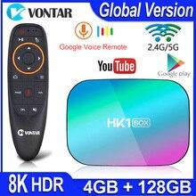 HK1 박스 8K 최대 4 기가 바이트 128 기가 바이트 TV 박스 Amlogic S905X3 안드로이드 9.0 스마트 TV 박스 4K 1000M 듀얼 와이파이 구글 플레이 스토어 유튜브 셋톱 박스