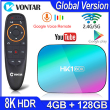Hk1 caixa 8k max 4gb 128gb caixa de tv amlogic s905x3 android 9.0 smart tv caixa 4k 1000m duplo wifi google playstore youtube conjunto caixa superior