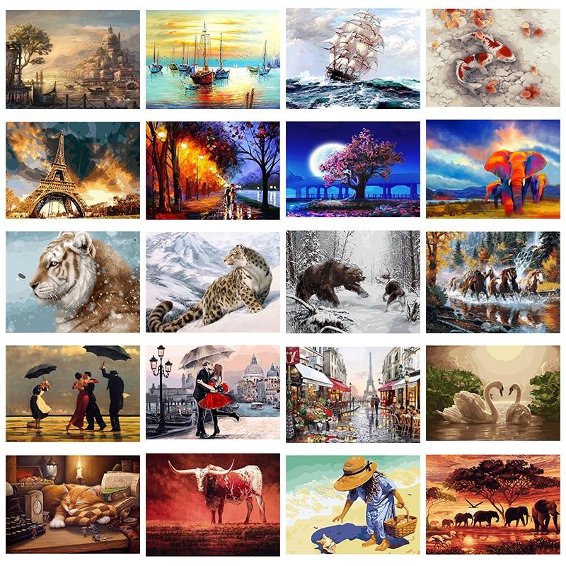 GATYZTORY 40x50 см картина по номерам для красочных животных DIY фотографии по номерам пейзаж бескаркасная Цифровая живопись|Картина по номерам| | - AliExpress